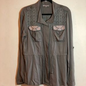 Miss Me khaki green long sleeve top GUC.